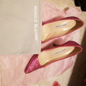 Manolo Blahnik pink sequin heels